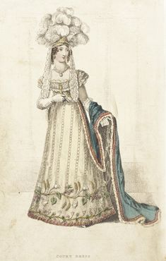 Court dress 1822 belle assemblee. I understand that George IV, after Queen Charlotte's death overturned her rules on the compulsory wearing of hoops at court. The dress resumes a more normal shape.