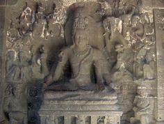 Escultura de Shiva. Templo Kailash, cueva de Ellora. Maharashtra. India.
