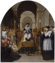La conversión de San Bruno ante el cadáver de Diocres // 1626-1632//Vicente Carducho// Raimundo Diocres fue un notable profesor de la Universidad de París que murió con fama de santidad en 1082.Durante sus funerales,el cadáver de Diocres se dirigió por tres veces a los presentes para anunciarles que Dios lo había acusado,juzgado y finalmente condenado por sus pecados,y se representa el horror del difunto y la sorpresa de Bruno de Colonia(1035-1101),que también era profesor en París