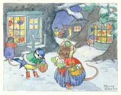 A blue tit wearing wellies and a fur-trimmed cape converses with a mouse in a bonnet and crinoline in this cute Christmas woodland scene with a Victorian flavour. Illustration by Molly Brett.