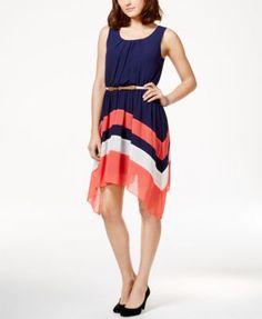BCX Juniors' Colorblocked Belted Asymmetrical-Hem Dress