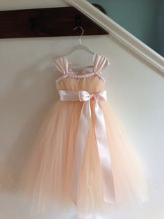 Vintage blush tutu flower girl dress