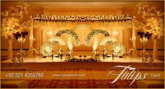 Find the best Gold Theme Stage Setup design ideas in Pakistan, golden floral rings, floral tree, candle operas, flowering arrange by Tulips Events Management