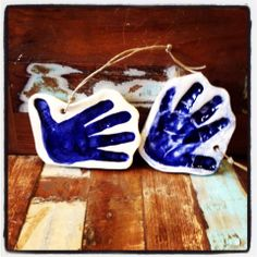 Toddler handprints in clay! Created at Art by You at Weirdgirl Creations Pottery Studio in Barrington RI