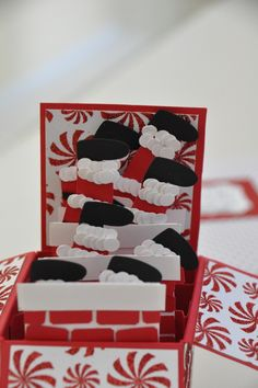 CARD IN A BOX - cute idea but one set of Santa feet is enough, build a scene to go with them