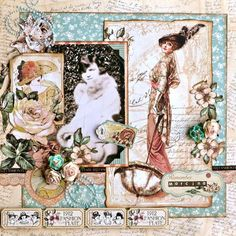 """Beautiful Layout on scrapbook.com today: """"The Good Ole Days"""" from the Scraps of Elegance Sketch Challenge. Posted by Lost Coast Scrapper. Gorgeous! #graphic45 #layouts"""