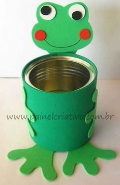 Recycled tin of Mold Thrush Tin Can Crafts, Paper Crafts For Kids, Diy Arts And Crafts, Creative Crafts, Preschool Crafts, Easter Crafts, Diy For Kids, Kids Crafts, Recycled Crafts Kids