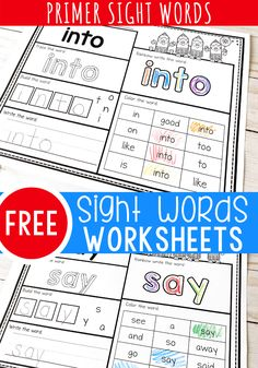 Practice sight words with your kindergarteners using these fun sight word worksheets! Kindergarten Sight Words List, Kindergarten Reading Activities, Learning Sight Words, Free Kindergarten Worksheets, Sight Word Practice, Sight Word Activities, Reading Practice, Vowel Worksheets, Morning Activities