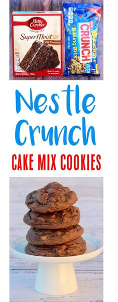 {Nestle Crunch} - The Frugal Girls Chocolate Cake Mix Cookies Recipe! Just 4 ingredients and you've got the most delicious Nestle Crunch Cookie! Watch them disappear before your eyes! Cake Box Cookies, Chocolate Cake Mix Cookies, Candy Cookies, Chocolate Cookie Recipes, Chocolate Muffins, Yummy Cookies, Chocolate Bars, Sandwich Cookies, Shortbread Cookies