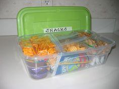 3 Tips for Organized Travel - Tip #3 - Neat Nest Organizing - snacks