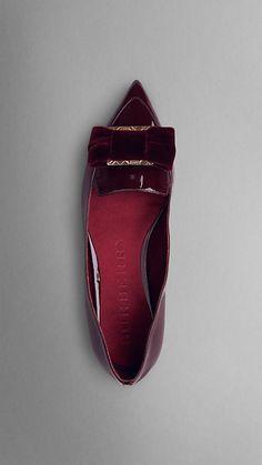Velvet Bow Point-Toe Patent Leather Ballerinas | Burberry