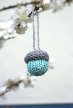 Hand Knitted Acorn Ornaments for Christmas