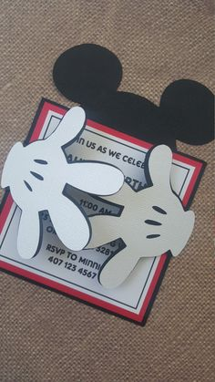 24x Mickey Mouse Invitations by MyPrettyLittleParty on Etsy