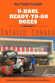 At U-Haul, our commitment to sustainability has led us to create products and services to support Ontario's sustainable lifestyle. We now offer the solution to sustainable moving in Ontario with our Ready-To-Go Boxes. Moving Truck Rental, Ready To Go, New Product, Good News, Scissors, Ontario, Sustainability, Tape, Boxes