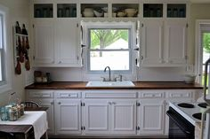 Add moldings and beadboard to plain cabinet fronts!