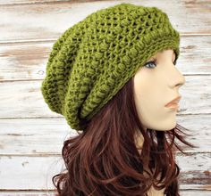 Penelope Puff Stitch Slouchy Beanie Hat in Grass Green