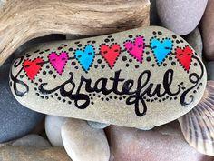 Grateful / gratitude / thankful / painted rock / painted stones / Sandi Pike Foundas / sea stone from Cape Cod