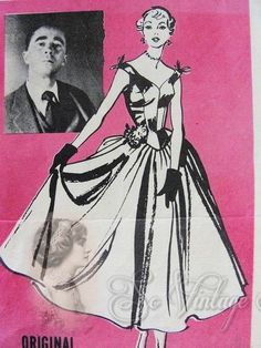 1950s RARE Charles James Evening Dress Gown Pattern American Weekly 3824 Vintage Sewing Pattern  Ultra Fitted Bodice and Very Full Skirt  Em...