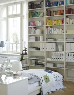 Love the Ikea magazine boxes labeled with pictures ~  books sorted by color ~ cute, but wouldn't work for me ~