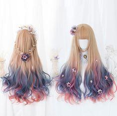Fashion Lolita Unicorn Wig PN1937 Kawaii Hairstyles, Pretty Hairstyles, Wig Hairstyles, Anime Wigs, Anime Hair, Kawaii Wigs, High Fashion Hair, Lolita Hair, Mode Lolita