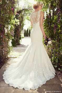 essense of australia wedding dress 2015 bridal jeweled lace shoulder strap v neckline mermaid gown d1779