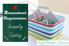 Make a supply caddy for holding all your supplies and materials. Perfect for homeschoolers or after- Homework Organization, School Supplies Organization, Organization Station, Teacher Supplies, Teacher Tools, Organizing School, Writing Correction, Homeschool Supplies, Art Cart