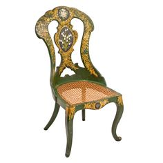 Green Lacquered & Gilt Papier Mache Childs Chair