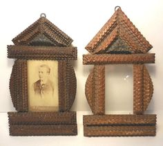 "2 ANTIQUE 1899 SMALL MATCHING PAIR ""TRAMP ART"" FRAMES-AS IS #TrampArt #Unknown"