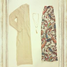 Our StyleBox #OOTD ! A neutral long sleeve crochet cardigan & a stylish printed maxi skirt are essentials for fall 2015.....Ask us how you can get yours!  #ootd #dressycasual #layers #ladies #fashion #maxiskirt #california #flatlay #trendy #ladiesstylebox