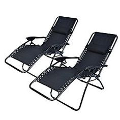 Polar Aurora 2pack Black Color Zero Gravity Chairs Recliner Lounge Patio Chairs Folding