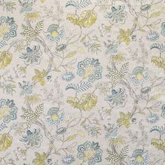 Warwick Fabrics : BRACKLEY in colour Lagoon #warwickfabrics #fabric #floral