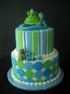 Image detail for -Violet's Custom Cakes: Hoppin' Turtle Baby Shower Pretty Cakes, Cute Cakes, Fondant Cakes, Cupcake Cakes, Baby Turtles, Turtle Baby, Frog Baby Showers, Basketball Baby Shower, Frog Cakes