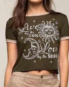 Live by the sun love by the moon t shirt for women green crop tops short style
