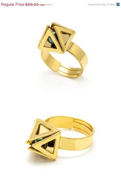 CIJ SALE 24k gold plated geometric ring  Square by benamimichal