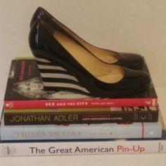 Kate spade wedge pump with stripes Black patent Kate spade pump wedge with black and white stripe heel very comfy !!! kate spade Shoes Wedges