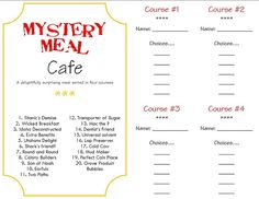 Mystery food menu and answer key. Fun to do for April Fool's, Halloween, or any other special event.