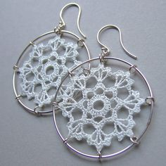 Scallops Doily Earrings, white silk thread