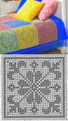 Filet Crochet Charts, Crochet Diagram, Crochet Stitches Patterns, Thread Crochet, Crochet Motif, Crochet Crafts, Crochet Doilies, Knitting Patterns, Afghan Patterns