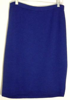 Vintage SJK ST. JOHN Wool/Rayon Blue Knit Straight Skirt - Shorter Front - 10 #SJKStJohn #StraightPencil #StJohn #skirt #knit #blue #10