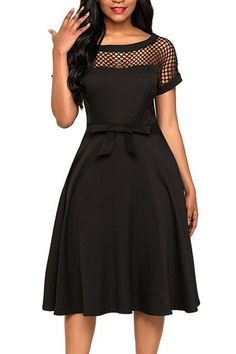 DaysCloth Black Cut Out Bow Draped A-Line Banquet Elegant Party Midi Dress Lace Dress, Dress Up, Grad Dresses Short, Gowns With Sleeves, Short Sleeves, Embellished Dress, Classy Dress, Ladies Dress Design, Lady