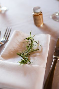 Rosemary at place settings #inspiredby #nature #bridalstyle