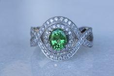 Tsavorite Garnet Ring in White Gold Stone Earrings, Stone Bracelet, Stone Necklace, Stone Jewelry, Coloured Stone Rings, Colombian Emeralds, Garnet Rings, Emerald Diamond, Princess Cut Diamonds