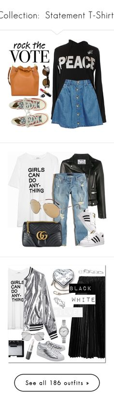"""""""Collection:  Statement T-Shirts"""" by jzanzig ❤ liked on Polyvore featuring Peace Love World, ASOS, Chanel, Oliver Peoples, rockthevote, Zadig & Voltaire, Acne Studios, Hollister Co., POLICE and Gucci"""