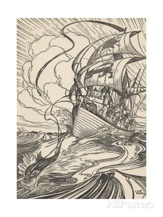 Illustration of Ship Pulled by Dolphin Giclee Print at AllPosters.com - main bath