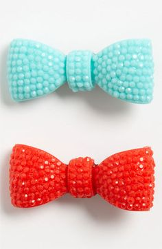 Cara Red/Blue Bow Hair Clips.