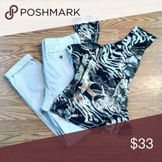 """NWT! Animal print top & khakis Brand new """"Into the Wild"""" M sleeveless top by Spanner with size 29 khakis by Forever 21. Spanner & Forever 21 Other"""
