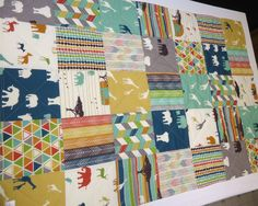 Modern Baby Quilt-Organic Birch Fabric-Tribal by NowandThenQuilts