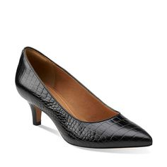 Sage Copper Black Croco Leather $109.99| 26103502 4.4 / 5 51 reviews A modern pump from Clarks® Artisan that combines a sleek silhouette with a dainty heel and fun fashion patterns. Butter-soft leather linings and an OrthoLite® footbed make it exceptionally comfortable. Choose this chic women's shoe in black croco-print leather to add pizzazz to all your fall basics.