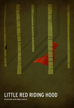 minimalist Little Red Riding Hood - the shades of green and the red together are beautiful.