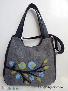 Szerelmes madárkás, szívleveles XL univerzális táska annetextil kézművestől